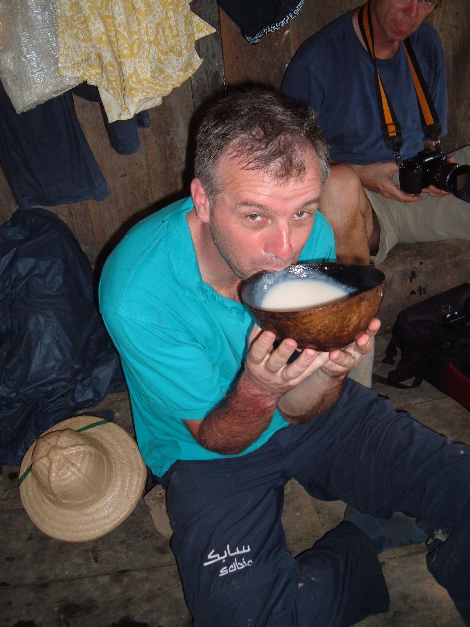 Wim drinking masato